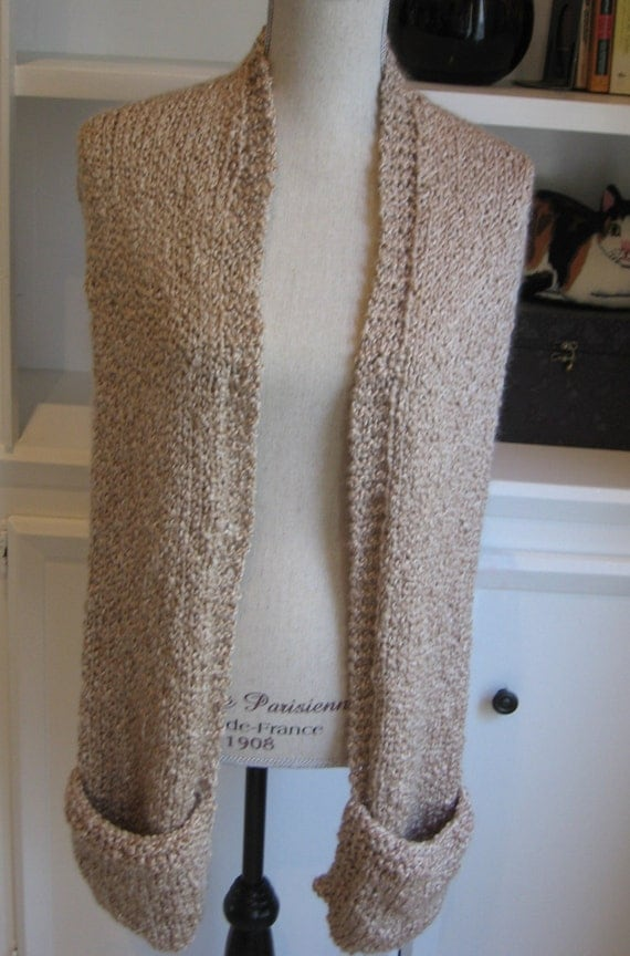 Readers Wrap Knitting Pattern : Reading Wrap Scarf Hand Knit With Pockets