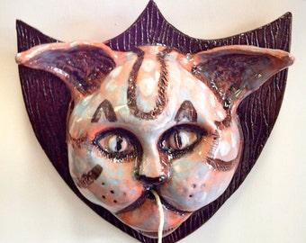 Taxidermy Cat Head Butcher String Holder