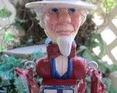 Original Folk Art Primitve Uncle Sam Patriotic Assemblage Sculpted Clay Vintage Wood Blocks