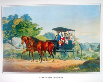 Currier and Ives Print - Life in the Country - 1978 Large Vintage Book Page for framing
