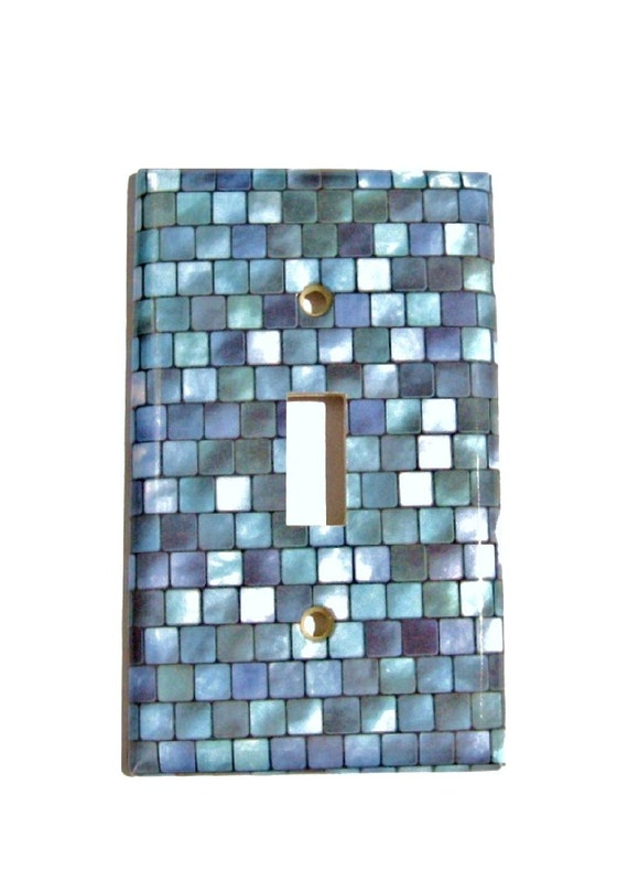 Mosaic tile kitchen light switch cover purple and by for Purple mosaic bathroom accessories
