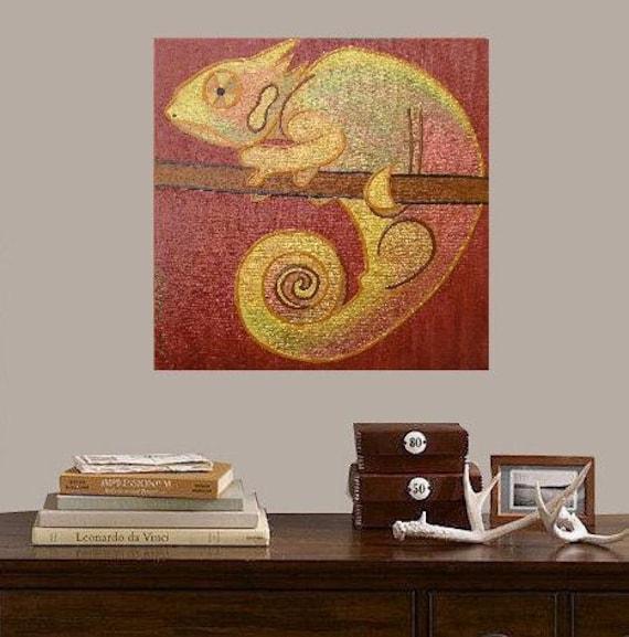 "Chameleon Wally, Oscar's wife.... original painting, 7.9x7.9"", 20x20 cm, acrylic, canvas, fantasy, chameleon, reptile, nature"