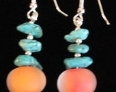 lampwork coral sunny mango glass etched & turquoise sterling silver earrings K-Glass SUMMER