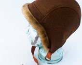 Wool and Mohair Aviator Hat with Faux Fur Trim in Cinnamon Brown : Women's Hats - Lara