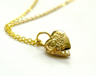 Small Heart Locket Charm Pendant Necklace Gold plated brass with flower floral design on a delicate gold plated chain