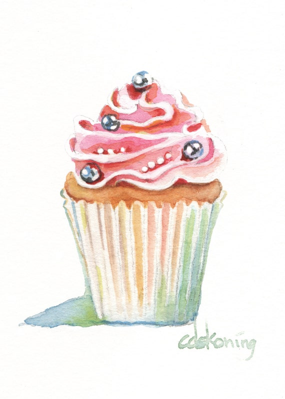 Watercolor Cake Clip Art : Items similar to Pink Cupcake Painting 5x7 300dpi DIGITAL ...