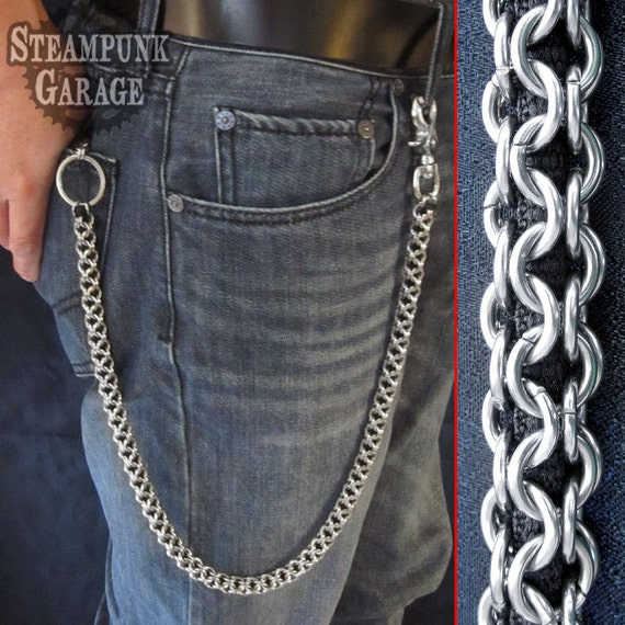 Wallet chain steel inverted round weave stainless for How to make a paracord wallet chain