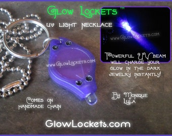 Pocket Size UV Light Necklace Keychain for glow in the dark jewelry