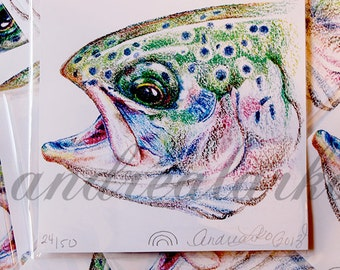 Limited Run Print of a Yearling Rainbow Trout in Colored Pencil 5x5
