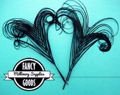 4 - Curled - Peacock Stems - Feathers - Sprigs - Black - Millinery - Boutonnieres