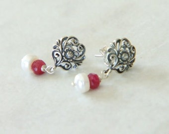Bali Sterling Silver Post Earrings with Red Ruby and White Freshwater Pearl Dangles June July Birthstone - Bloom // F071
