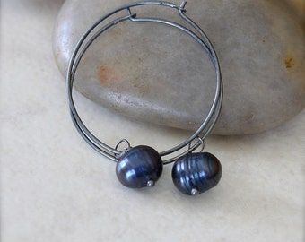 Oxidized Sterling Silver Hoop Earrings with Midnight Blue Freshwater Pearl Dangles - Midnight // F014