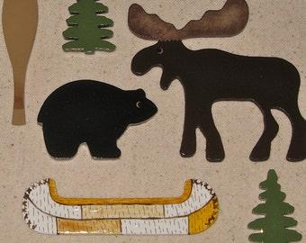 Moose Bear Canoe North Woods Wildlife Push Pins for Bulletin Board