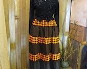 Vintage 60s Polka Dots skirt black Cotton Vintage maxi Gold dot 60s Modern Art skirt  S M