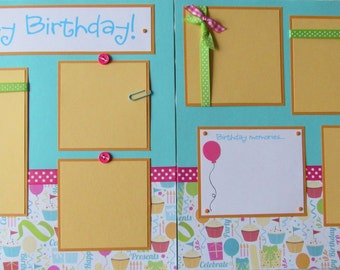 Premade 12x12 scrapbook pages - birthday layout - HAPPY BIRTHDAY! - girl - birthday party - turning any age, party, celebrating, first