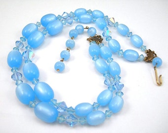 Blue Moonglow Beads Choker Necklace, Glass Crystals, Two Strands, Vintage c1950, Costume Jewelry