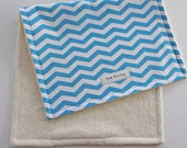 CLOSEOUT SALE - Organic Collection Burp Cloth - Blue Chevron
