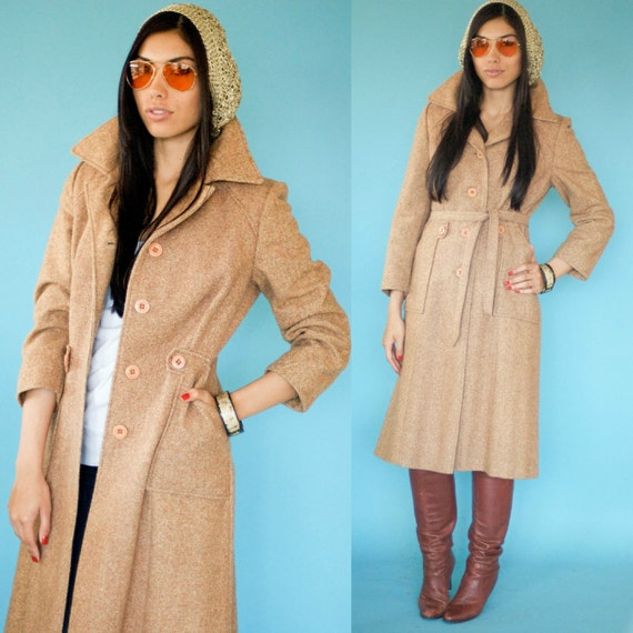 1960s Vintage Mod Butterscotch Tweed Fitted Coat XS S