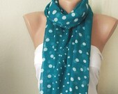 Cotton Scarf, Dotted Scarf,  Green Spring Scarf, Winter Accessories