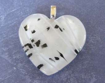 Heart Jewelry, White Glass Heart with Black Accents, Omega Slide, Love Pendant, Etsy Fashion - Sugar - 3808 -2