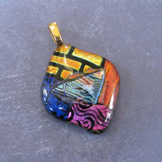 Dichroic Glass Slide Pendant,  Large Gold Bail - One of a Kind - Earth, Wind, Water, and Fire - 3340 - 012