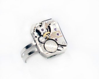 Steampunk Silver Ring with Authentic Vintage Watch Movement by Velvet Mechanism