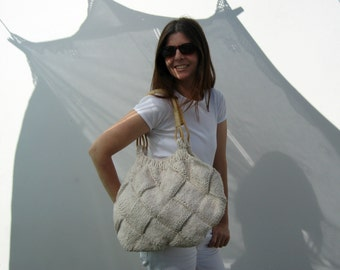 SALE - Hobo Bag Purse Knitted in Natural White Cotton - Large Tote Beach Bag