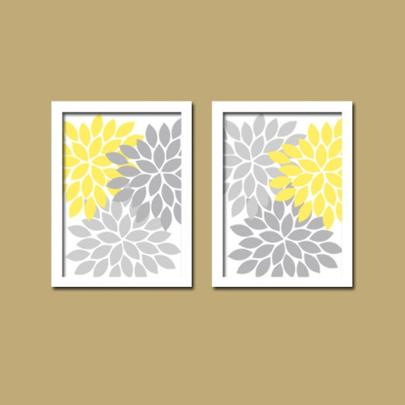 Bedroom Wall Art Grey: Yellow Gray Wall Art Yellow Gray Bathroom Wall Art By