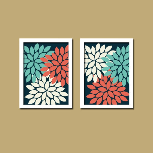 Navy Coral Wall Art CANVAS Or Prints Bedroom Bathroom By