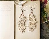 lace earrings - FLEURETTE - long chandelier earrings - ivory - bridal -