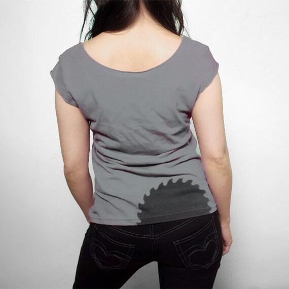 Cutting Edge Womens Tshirt in Slate Gray : womens clothing, gift for her, modern design, womens summer fashion