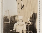 Vintage CHILD w TOYS PHOTO - cute little fella in his scooter with his stuffed Bunny Dolls -sweet Shot