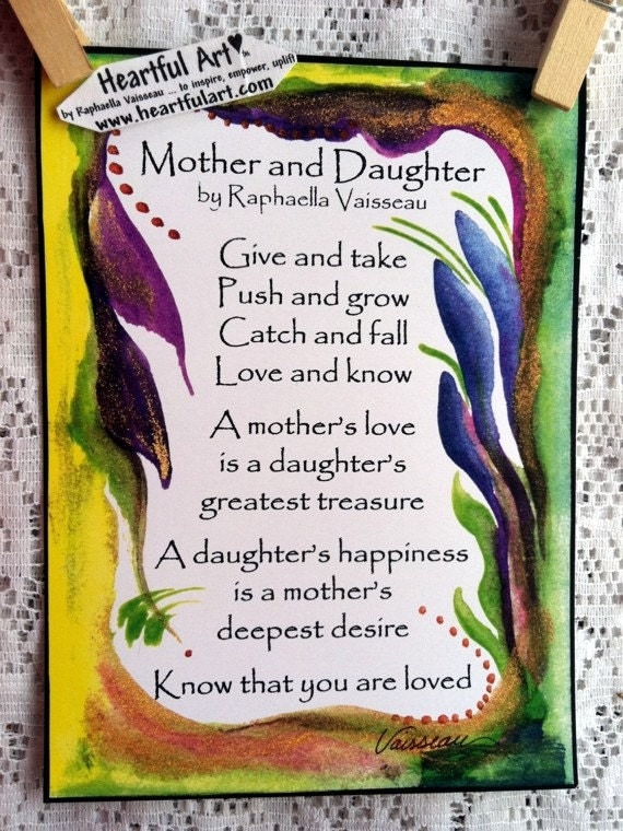 MOTHER And DAUGHTER Original Poem Inspirational By Heartfulart