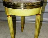 Faux Marble Nightstand, Italian Provincial, Brass Trim, End Table, Faux Marble Top Table, Turned and tapered legs