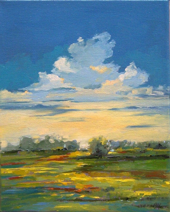 "oil painting landscape painting, original oil, ""Abundant"", 100% charity donation, canvas, stretched, 8x10 clouds, field, blue, yellow"