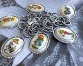Nostalgic Country Chic Genuine Vintage Holly Hobbie Cameo Charm Bracelet in Antiqued Silver Southern Style