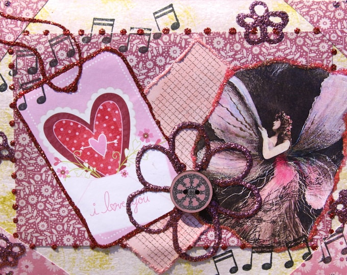 Collaged Folded Greeting Card, Valentine, Mixed Media, Heart, Fairy, Floral, Size 5x7, Blank Inside, I love you