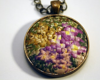 Pendant is created in Faux Needlepoint in polymer clay from floral arranfement handmade by me.