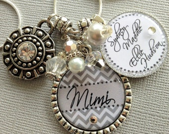 Mom gift Chevron PERSONALIZED gift, grandma gift Mom necklace Children's Names Mimi, Nana gift, Rhinestone, PHOTO, Mimi birthday gift
