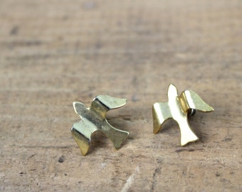 Bird Earrings • 80s Bird Earrings • Dove Earrings • Sparrow Earrings • Animal Earrings • Animal Jewelry • Vintage Earrings • Gold Earrings