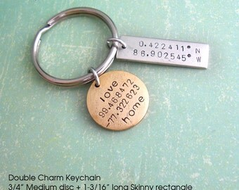Double GPS Coordinates Keychain.. Hand Stamped Skinny Rectangle & Medium Disc. Customize Lat/Long antiqued metal charm. Copper, Silver, Gold