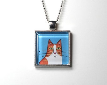 Cat Jewelry SALE/ Ginger Orange Tuxedo Kitty Pendant in Silvertone Setting