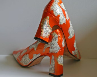 Decoupaged Vintage Map Shoes Size 6 and Half Womens Shiny Carrot Orange Pumps Recycled Vintage Map Hand Decorated