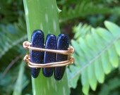 Blue Goldstone Ring | Gold Ring