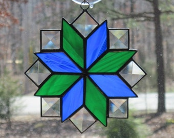 Stained Glass Suncatcher, Quilt Pattern - 8 Point Star in Cobalt Blue & Dark Green with Clear Bevels