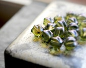 Kiwi Berries - Czech Glass, , Matte Olivine Green, Blue Peal Coating, Melon Rounds 14mm - 4 Pc