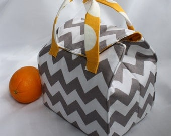 Custom Insulated Lunch Bag / Lunch Tote / Bento Box Carrier - Reusable - Washable - Choose Your Fabric