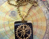 Black and Gold Shiva Vintage Glass Tile Pendant