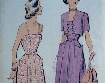 Vintage 1940s Sundress Pattern Advance 5180 Bust 30 Scallop Detail