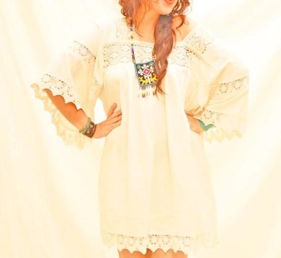 Romántico natural mexicana bohemio Mini vestido vintage Crochet Lace
